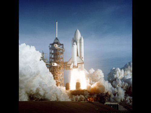 "Columbia STS-1 Launch Pad - Historic NASA Photo  - 24"" x 24"" Photo Print"