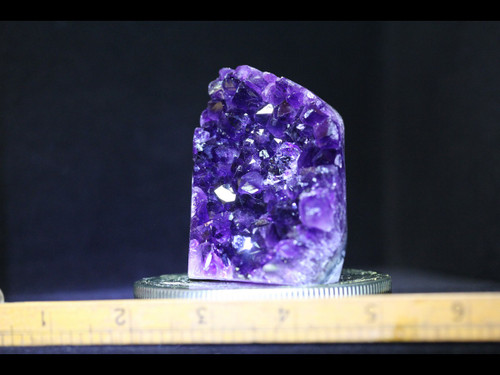 Beautiful Deep Purple Standing Amethyst with Agate Polished Edges