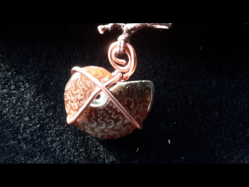 Translucent Opalized Ammonite Fossil Copper Wire Wrapped Pendant