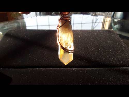 Natural Unheated Citrine Quartz Crystal Pendant - Copper Wire Wrapped Pendant