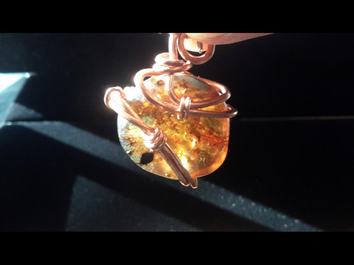 Amber Bauble Copper Wire Wrapped Pendant