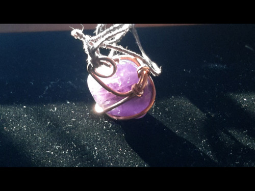 Amethyst Quartz Crystal Bauble Copper Wire Tesla Wrapped Pendant