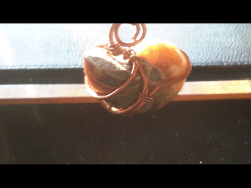 Ammonite Agate Fossil Copper Wire Wrapped Pendant