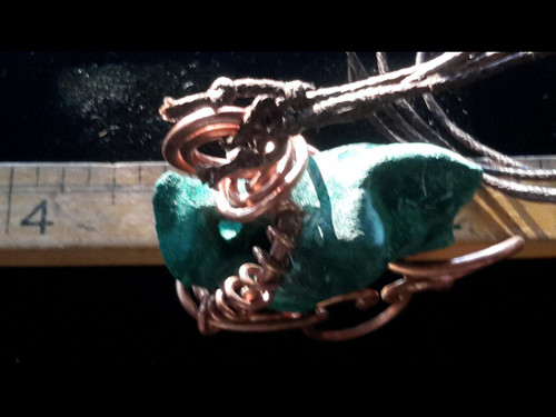 Nature Malachite Copper Wire Tesla Wrapped Pendant