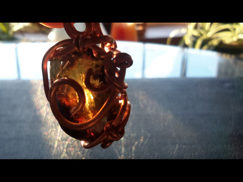 Unheated Citrine Quartz Crystal Bauble Copper Wire Tesla Wrapped Pendant