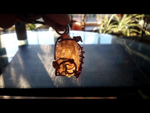 Polished Unheated Citrine Quartz Crystal Copper Wire Tesla Wrapped Pendant