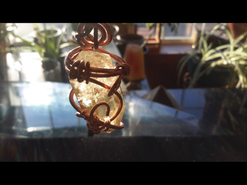 Polished Unheated Citrine Double Terminated Quartz Crystal Copper Wire Tesla Wrapped Pendant