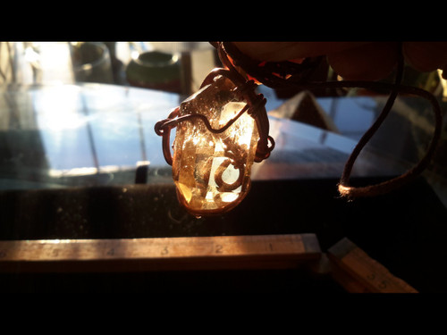 Polished Unheated Citrine Quartz Double Terminated Crystal Copper Wire Tesla Wrapped Pendant