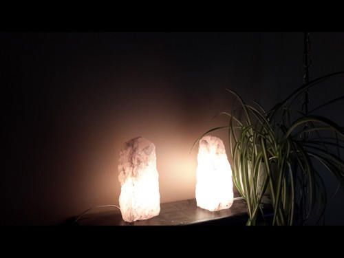 "Rose Quartz Mountain Lamps - Rough Quartz - Medium (10"" Tall)"