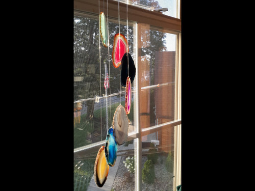 Agate Windchimes - Sun Catchers - Mobile  - Small - Multi Colored Agate Slabs with Bamboo style hanger