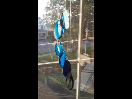 Agate Windchimes - Sun Catchers - Mobile  - Small - Blue  Colored Agate Slabs with Bamboo style hanger