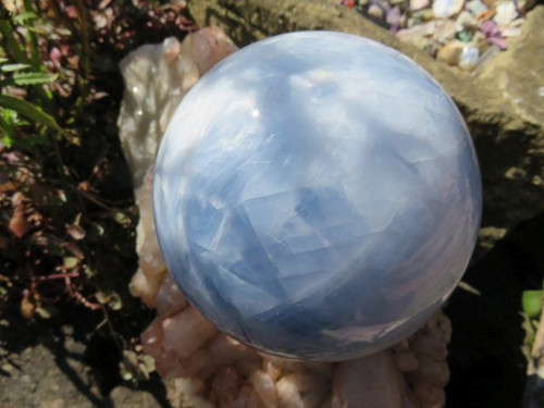 Large Blue Calcite Crystal Sphere -