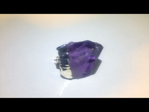 Silver Plated Amethyst Crystal Point Pendant - Natural Shape - Unpolished