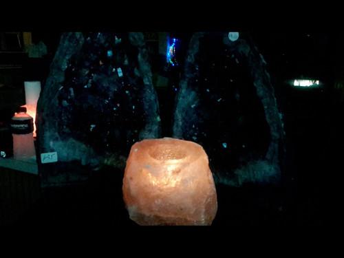 Natural Himalayan Salt Chunk Tea Light Candle Holders