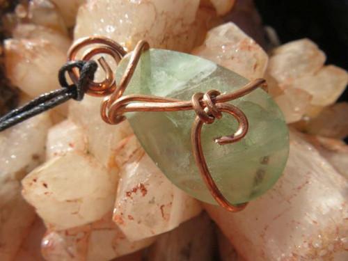 Gemmy Polished Green Fluorite Bauble Copper Wire Wrapped Pendant - Tesla Wrap