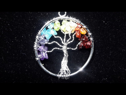 Tree of Life Pendant - Sterling Silver Plated - Multi Color Gemstones