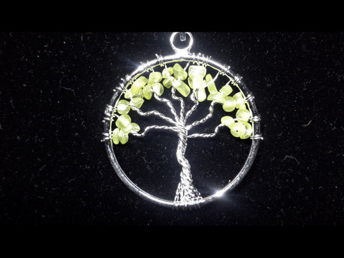 Peridot Tree of Life Pendant - Sterling Silver Plated