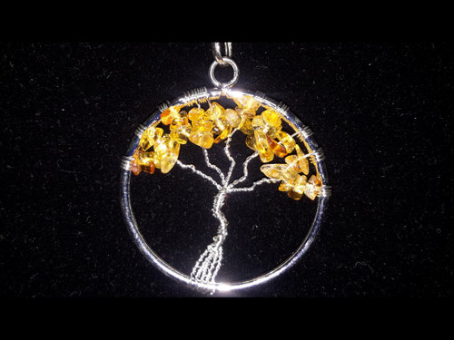 Citrine Tree of Life Pendant - Sterling Silver Plated