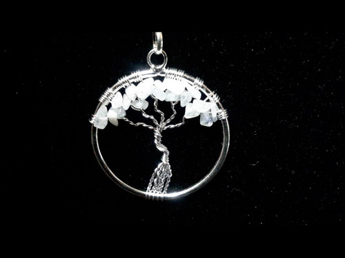 Moonstone Tree of Life Pendant - Sterling Silver Plated