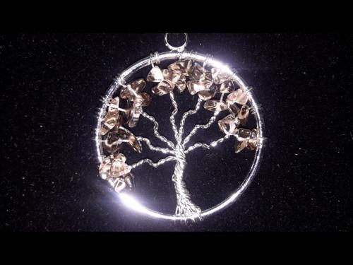 Smokey Quartz Tree of Life Pendant - Sterling Silver Plated