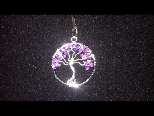 Amethyst Quartz Tree of Life Pendant - Sterling Silver Plated