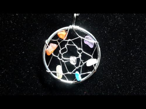Dream Web Multi Gemstone Pendant - Sterling Silver Plated