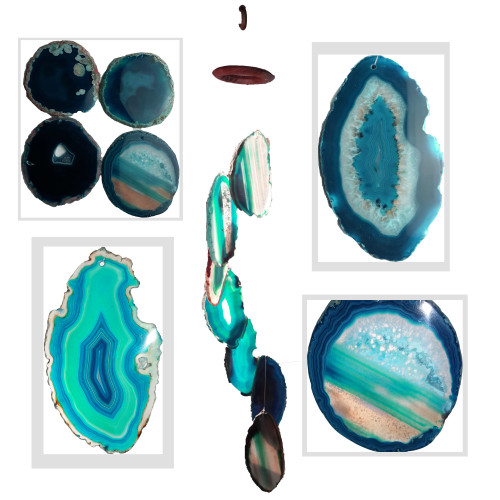 Agate Wind Chimes - Teal Agate Slabs with Bamboo style hanger - Large