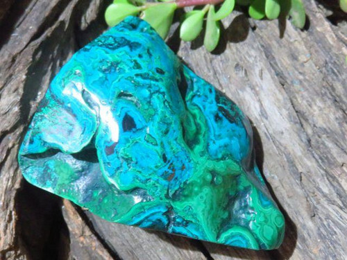Polished XL Chrysocolla and Malachite Freeforms from Congo