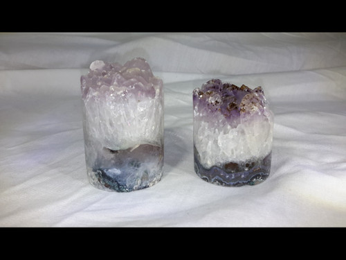 Hand Crafted Polished Natural Amethyst Cluster Cylinder - Cylindrical Crystal Point