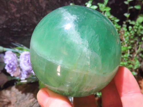 Large Green Fluorite Crystal Sphere  - Crystal Ball