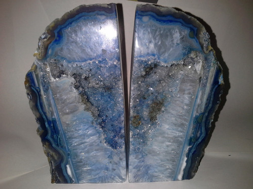 "Unique  Fractal  Pattern - ""Womb of the Earth"" Twice Cut and Polished Agate Geode. -Book End Style Cut"
