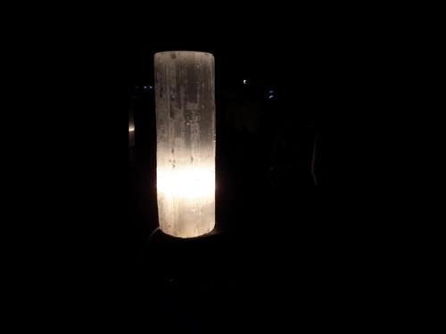 """Selenite Tower Flat Top Lamp - (10"""" Tall)"""
