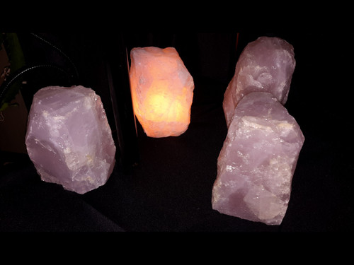 Rose Quartz Mountain Lamps - Rough Quartz - Small