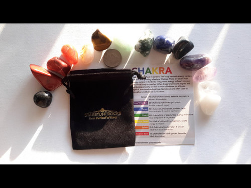 """Deluxe """"Exotic"""" Chakra Set - All Natural Semi Precious Stones with Info Card and Black Velvet Pouch"""