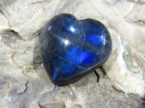 Polished Labradorite Heart Stones  - Sold per piece