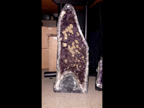 """Amethyst Church Crystal Cathedral Geode w/ Fluorescent Calcite -  23"""" Tall!"""