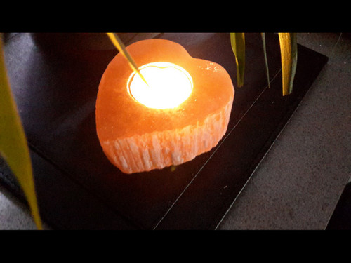 Polished Heart - Orange Selenite Tea Light Candle Holder