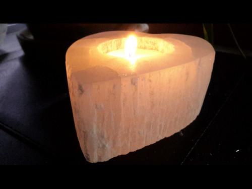 Polished Heart - Natural Selenite Tea Light Candle Holder