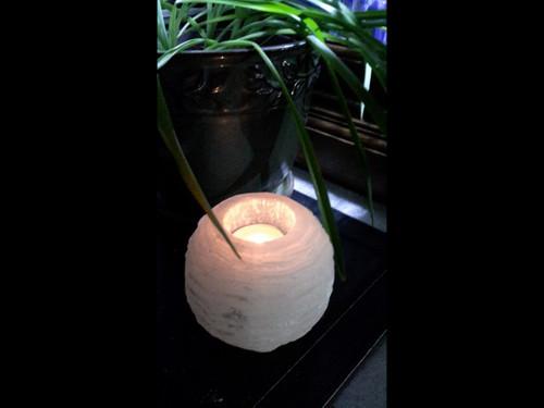"Rough ""Snowball""  Selenite Tea Light Candle Holder"