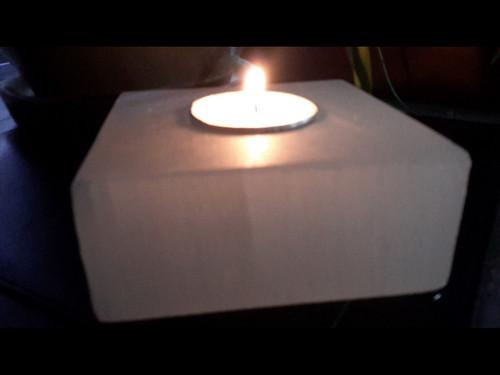Polished Square  Selenite Tea Light Candle Holder