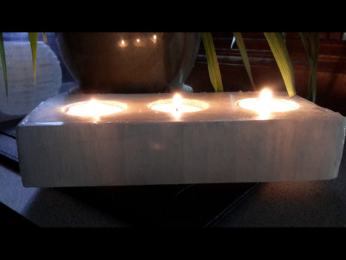 Polished Rectangle Selenite Tea Light 3 Candle Holder