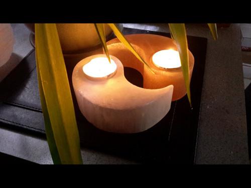 Polished Orange / White - Yin / Yang Selenite Tea Light Candle Holder
