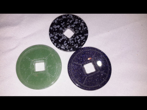Chineese Coins - Polished Natural Semi Precious Stone - No Dyed Material!