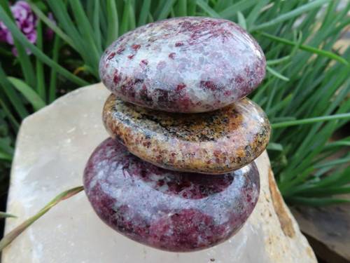 Polished Garnet in Quartz Gallet -  Palm Stone - Fidget Rock - from Madagascar