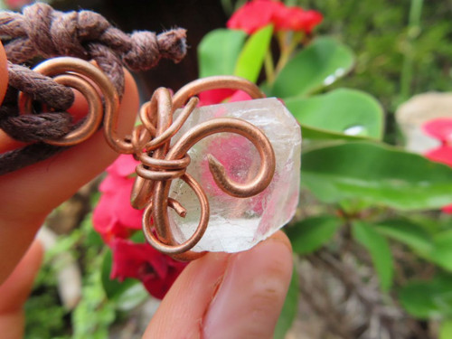 Copper Wire Tesla Wrap™ - Copper Wire Wrapped Ice Blue Fluorite Octahedron Crystal Crystal Pendant from South Africa