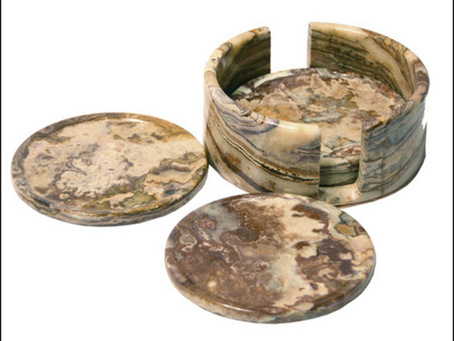 "4"" Round Banded Onyx Drink Coasters - Set of 4 with holder"