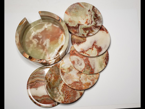 "4"" Round Banded Onyx Drink Coasters - Set of 6 with holder"