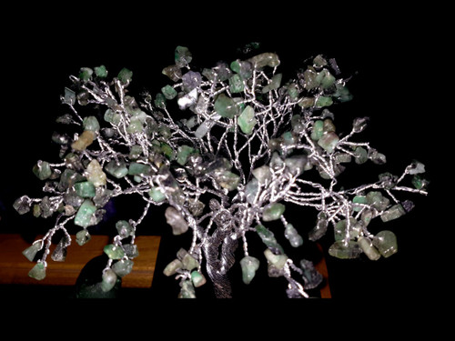 Hand Made Gemstone Tree - Made From Polished Tumbles - Medium  - Green Mica