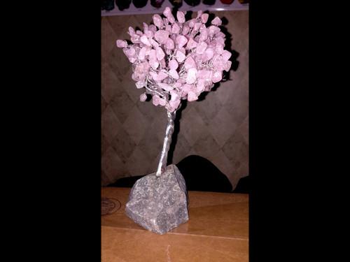Hand Made Gemstone Tree - Made From Polished Tumbles - Medium  - Rose Quartz