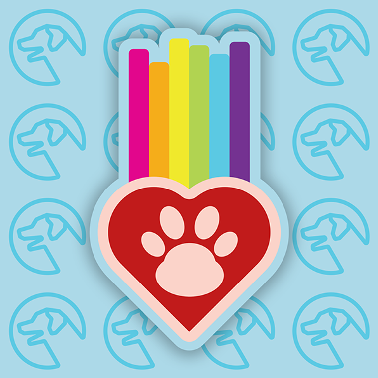 "Ruff Life ""Rainbow Hearts"" Sticker"